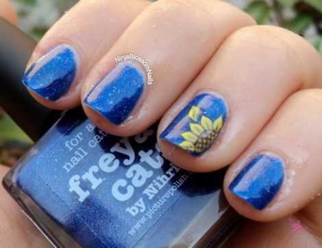 piCture pOlish Freya's Cats Outside with Sunflower decal